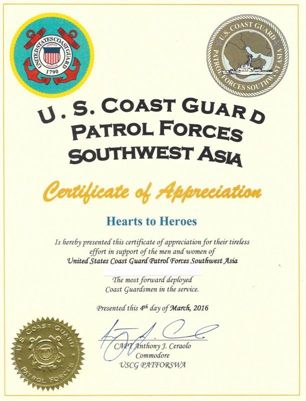 Coast Guard Certificate of Appreciation (2)